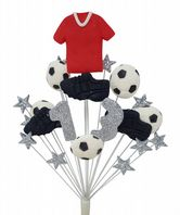 Footballer 13th birthday cake topper decoration red shirt - free postage